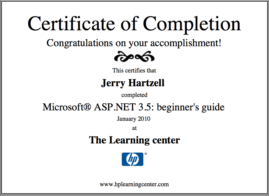 HP Learning Center-Microsoft ASP.net - Jerry Hartzell | Sites by Jerry